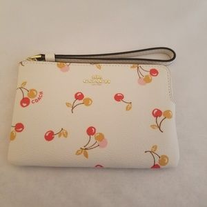 Coach Corner Zip Wristlet With Fun Cherry Print